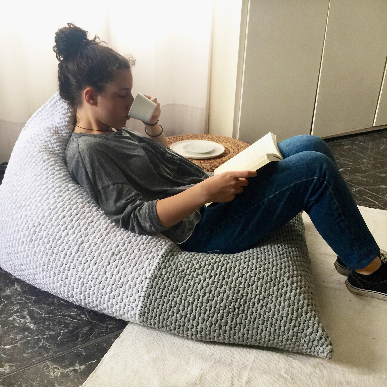 Adult Lounge Bean Bag Chair White Grey Large Lounge Bean