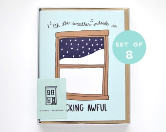 Funny Holiday Card Set - Mature Set of Christmas Cards - Let it Snow