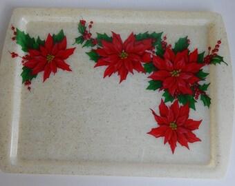 Mid Century, Poinsettia, Fiberglass Serving Tray, Holiday Cookie Tray