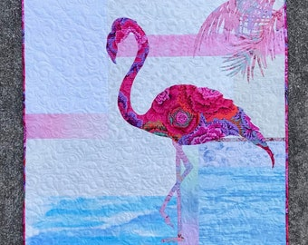 Fiona Quilt Kit/Quilt Kit/Flamingo Quilt/Quilted Wall Hanging/Pattern/Focus Fabric Kit/Use Both Sides/Quilt Pattern