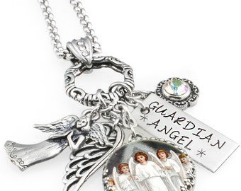 Silver Angel Necklace - Guardian Angel Jewelry - Spiritual Necklace - Engraved Charm