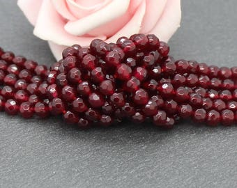 30 faceted 4 mm Burgundy color PEJ60 jade beads