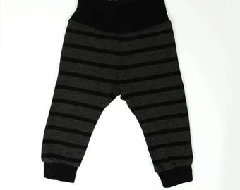 Grey stripe bamboo baby leggings, baby clothes, gender neutral, baby boy baby girl pants, monochrome, ready to ship