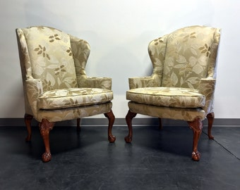 STICKLEY Brooklyn Heights Chippendale Wing Chairs with Ball in Claw Feet - Pair