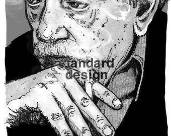 Kurt Vonnegut - author portrait [illustration Slaughterhouse Five writer pooty tweet so it goes]