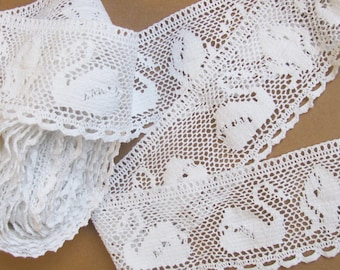 """2.5"""" Cotton Lace by Yard; White Cotton Lace with Swan Pattern, Swan Lace Yardage; Cotton Lace, Supplies for Sewing"""