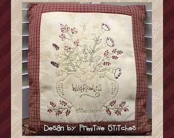 Wildflowers-Primitive Stitchery  E-PATTERN by Primitive Stitches-Instant Download