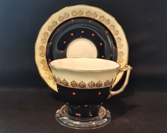 Vintage Old Royal Black Teacup Est 1846 (1945)