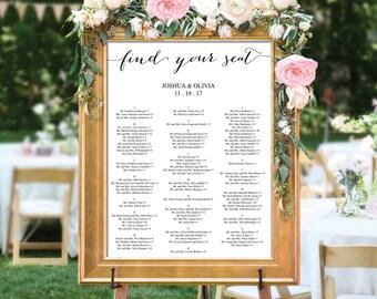 Wedding Seating Chart - Editable PDF - Table Arrangement Sign - DIY Wedding Seating Sign - Minimal Elegance - Wedding - Instant Download