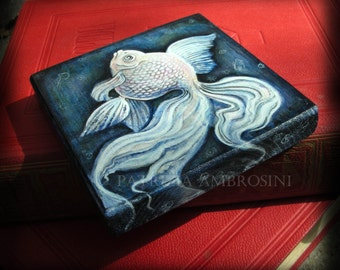 """Art Block handpainted - 4.5x4.5"""" - on Wood - White fish -rYUKIN - ORIGINAL Painting collectible"""