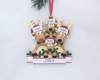Four Reindeer Family Personalized Christmas Ornament / Family of 4 Reindeer / Reindeer Ornament / Hand Personalized Names