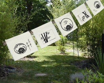 5 prayer flags Lotus, Bamboo, Om-Lotus-Bedroom Decor-Altar-Shrine-Follow Your Dream-Garden Art-windchimes
