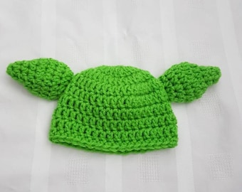 Crocheted Newborn Baby Boy Girl Yoda Hat Photo Prop Baby Shower Gift