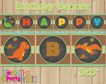 Dinosaur Happy Birthday Banner, Dinosaur Birthday Banner, Happy Birthday Banner