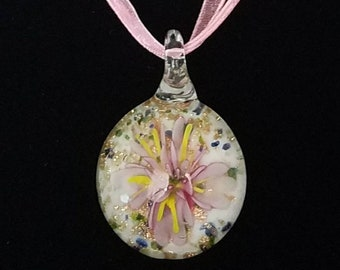 Glass Pink Flower Pendant