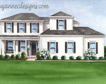 COMMISSIONED HOUSE PORTRAIT, Watercolor Painting, Perfect Realtor Closing Gift, Housewarming, Wedding or Anniversary Gift, Gift Certificate