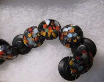 Buttons Vintage Glass Black Jazz Buttons Set