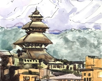 "Bhaktapur, Nepal Watercolor Painting, Watercolors paintings original, Neapl Temple, Himalayas, Nepal - 9""x12"" Watercolor on paper."