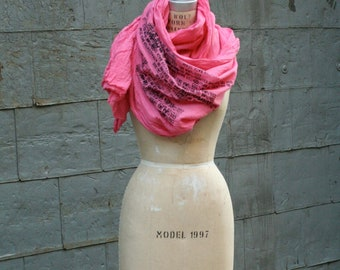 Pink Scarf, Women's Spring Scarves, Text Scarf, Printed, Large, Summer Wrap,