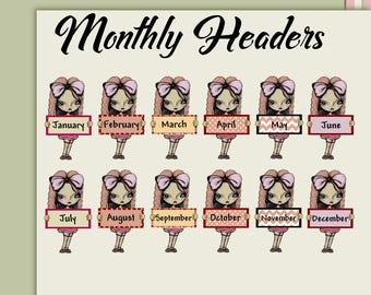 Planner stickers calendar stickers journal stickers Monthly headers big eye art stickers