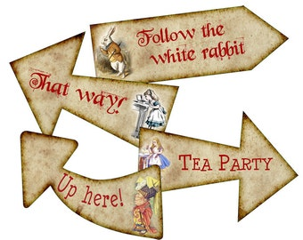 Alice In Wonderland Arrows Digital Download Printables