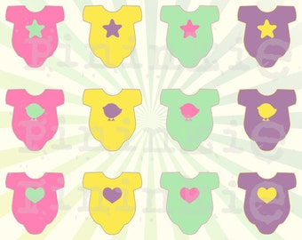 Baby Girl Clip Art - Baby Shower Clip Art - Baby Grow Clipart - INSTANT DOWNLOAD - Card Making Embellishment