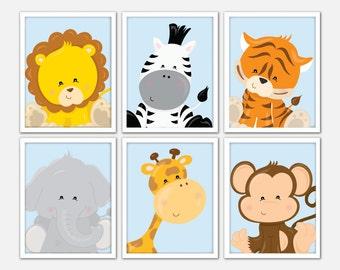 Jungle Nursery Wall Art, Safari Nursery Set, Kids Safari Wall Art, Safari Nursery, Kids Safari Decor, Baby Animal Artwork, Nursery Art Zoo