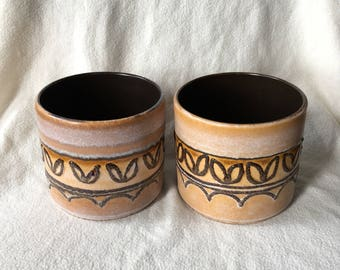 Set of two vintage flower pots, West Germany-brown-yellow-mustard with imprint in relief.
