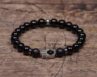 Zilveren Hamsa - Zwarte Onyx