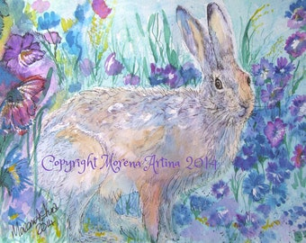 Hare Print Hare Print Cornflower Hare  Beautiful Giclee Print of  Watercolour and Ink Painting on Watercolour Paper