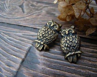 Earrings Owl bronze small earrings