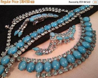 ON SALE Vintage Blue Rhinestone Necklace Bracelet Earring Set - 1940's 1950's Art Deco Jewelry - Stunning Near Mint Hard To Find Demi