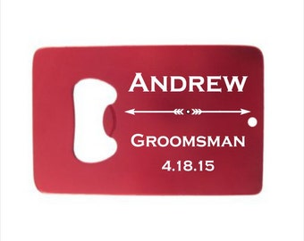 9 of Personalized Credit Card Bottle Opener - engraved bottle opener wedding favor, groomsman gift, colorful personalized party favor