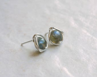 Labradorite Stud Earrings, Small Stud Earrings, Sterling Silver Gemstone Earrings, Labradorite Earrings Bridesmaids Earrings