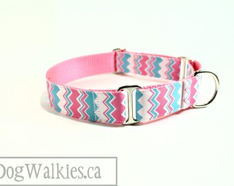 "Aqua Bubblegum Chevron - Zig Zag - Dog Collar - 1"" (25mm) wide - Choice of style and size - Martingale or Side Release Buckle"