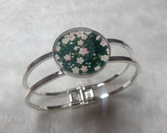 Bangle Silver Sakura flower black