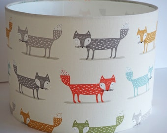 Delightful cute fox  fabric ceiling pendant or table lampshade - 30cm diameter shade