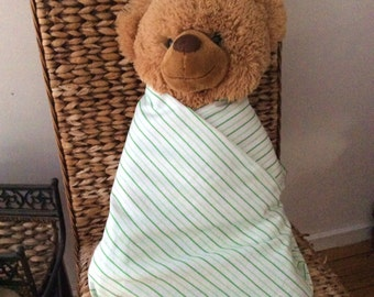 Lime Green Candy Stripe Pattern, Soft Baby Wrap, Blanket, Swaddle 100 cm x 120 cm, 100% Cotton