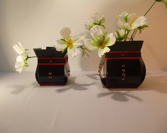 2 vases in faux leather and paper-gift idea-home decor
