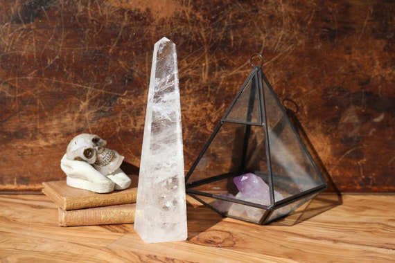 "Tall Clear Quartz Obelisk 7"", Polished Clear Quartz, Natural Clear Quartz, Clear Quartz Mineral Specimen, Standing Quartz Obelisk, Gridding"