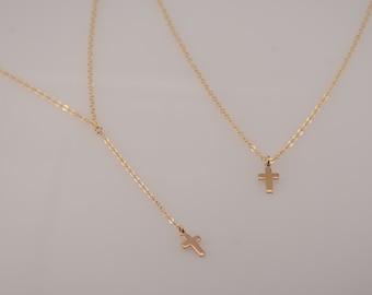 Delicate Y necklace. 14K gold filled Y necklace. Cross Y necklace. Tiny cross necklace