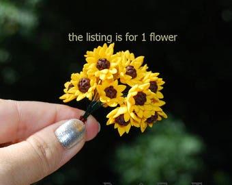 Sunflower 1 FLOWER, jewelry supply, Polymer clay sunflower, polymer clay flower beads, Polymer clay miniature flower, Sunflower flower