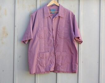 Mauve Guayabera Shirt - 90s Button Down Shirt - Vintage Embroidered Shirt - 1990s Beach Shirt - Lounge Shirt - Purple Indie Shirt - XL