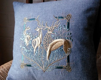 STAG, Cushion, Blue, Denim, Cotton, FOREST HART, Embroidered, Washable, Square,  Nature, Countryside, wildlife, home, machine embroidery