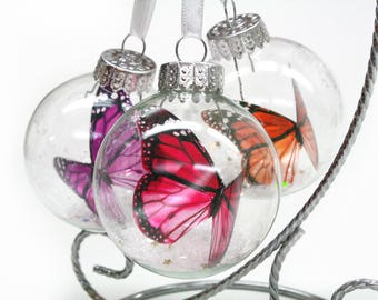 Set of 3 Monarch Butterfly Ornaments in glass - you choose colors - perfect small gifts for teachers, co-workers, etc