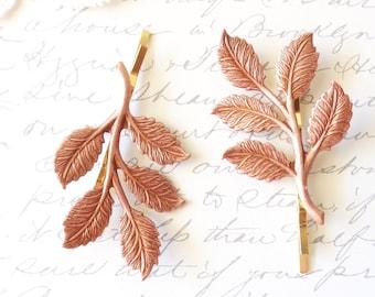 Rose Gold Leaf Branch Bobby Pin Set - Leaf Spray Hair Pins - Woodland Leaf Hair Pins - Wedding Hair Accessory - Bridal Hair Pins
