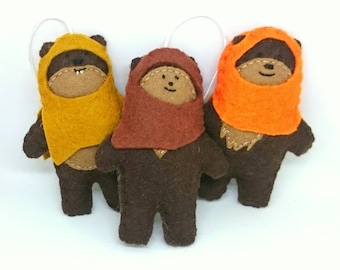 Ewok ornaments - Star wars inspired felt decoration - SW movies - gift for him Christmas decor - May4th geek characters for boys kidsroom
