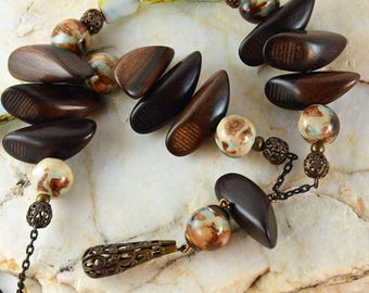 In the Woods, Rustic Wooden Necklace, Blue Brown Ceramic Beads, Eclectic Necklace, Bohemian Chic Jewelry,  Vintaj Brass Necklace