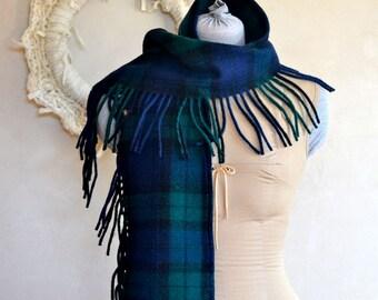 Plaid Wool Scarf Blanket Fringe Black Watch Navy Blue & Forest Green Rustic Lumbersexual Wool Unisex