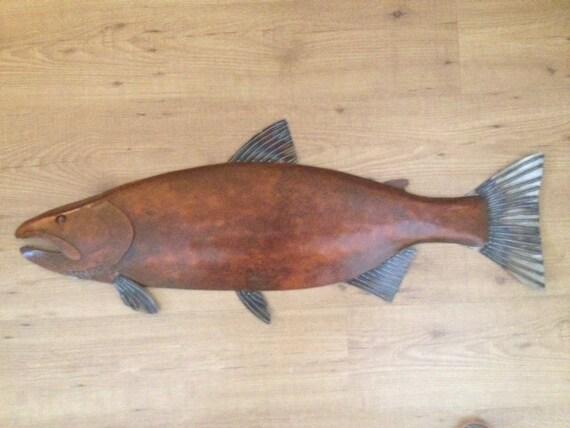 Salmon Fish  Metal  Wall Sculpture 36in Lodge Lake Cottage Cabin Art River